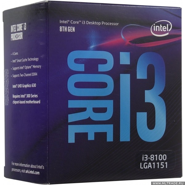 Процессор Intel Core i3 8100 Soc-1151v2 (3.6GHz, Intel UHD Graphics 630) Box